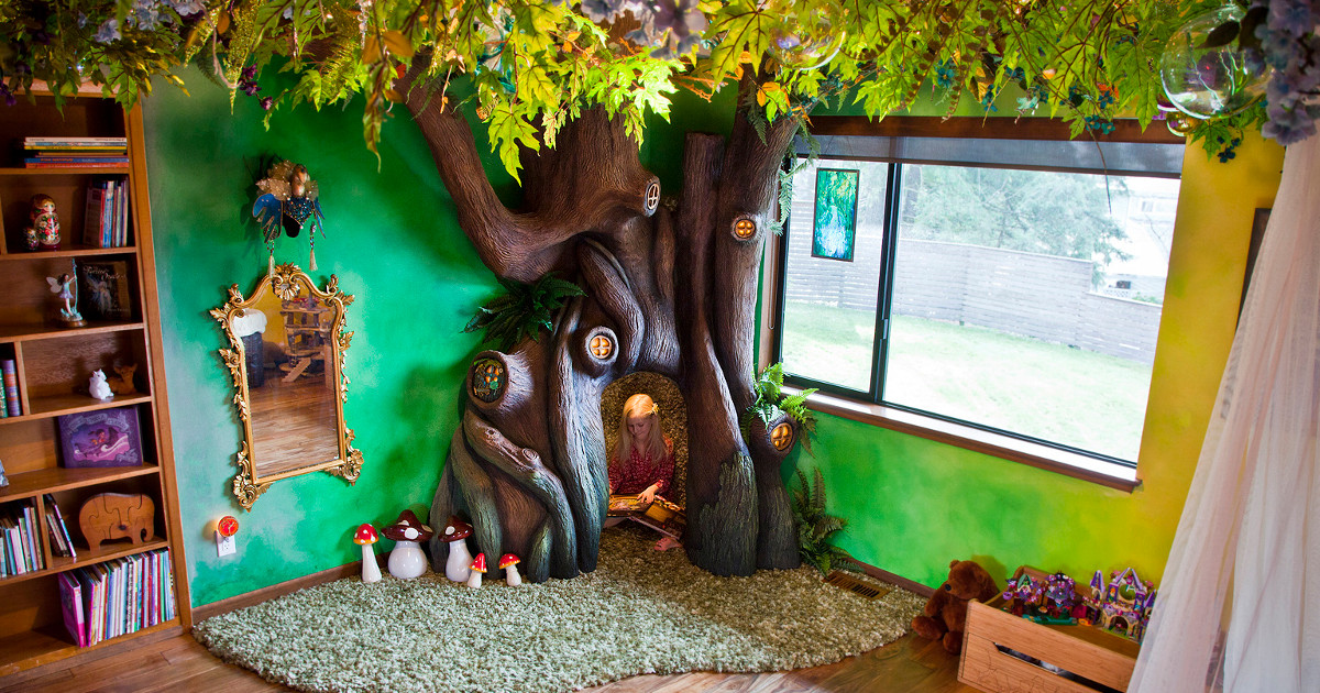 Father Turns Daughter's Room Into A Fairytale Setting