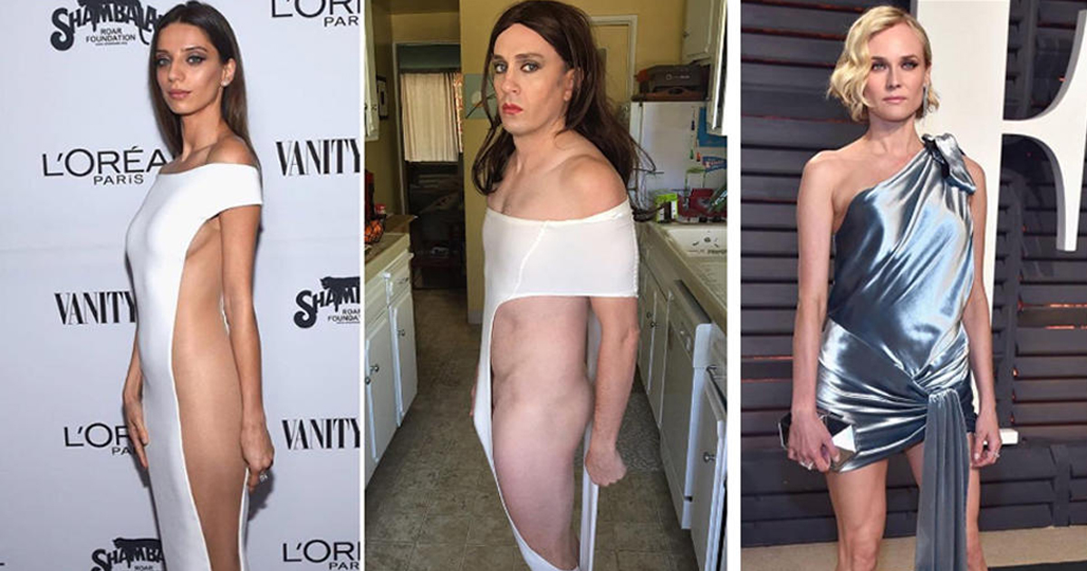Tom Lenk Trolls Red Carpet Divas By Recreating Their Dresses At Home With Scraps