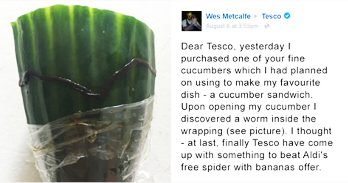 Man Discovers Worm In His Cucumber, But Tesco Customer Service's Reply Is Amazing