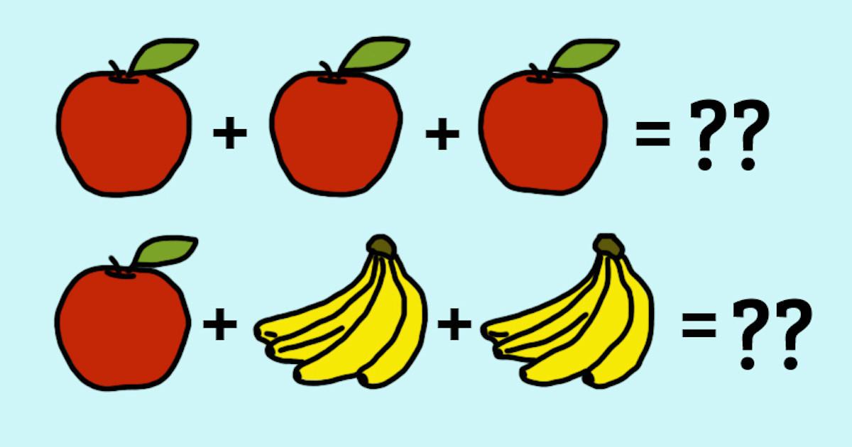 数字ではなくて果物を使った算数の問題を解くことができますか?